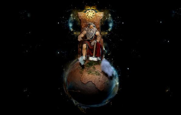 Picture Planet, Statue, Earth, Hammer, Black background, Sitting, The throne, Svarog, Slavic God, Sasha, Gregerman, The …