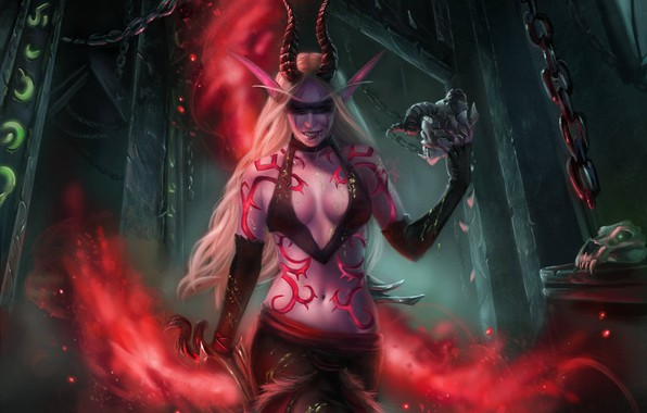 Picture girl, art, WOW, elf, demon hunter, demon hunter, World Of Warcraft