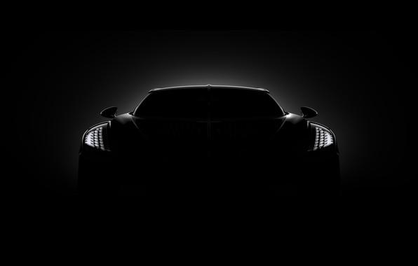 Picture Bugatti, front view, hypercar, 2019, The Black Car