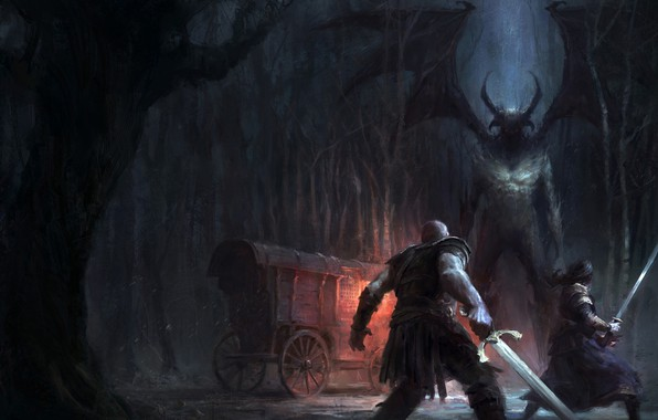 Picture forest, trees, night, weapons, people, darkness, the demon, fantasy, art, horns, coach, art
