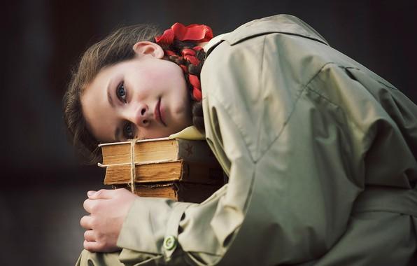 Picture face, background, mood, books, portrait, girl, schoolgirl, cloak, Alex Grisyuk