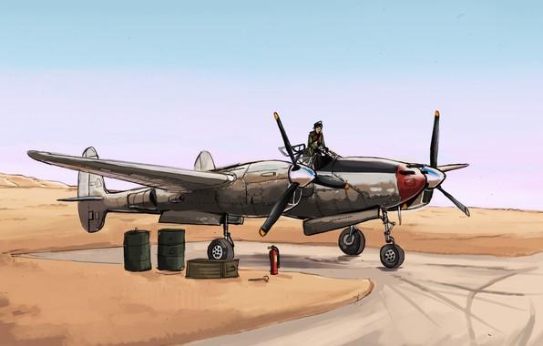 Picture desert, fighter, art, pilot, Lockheed, USAF, P-38 Lightning