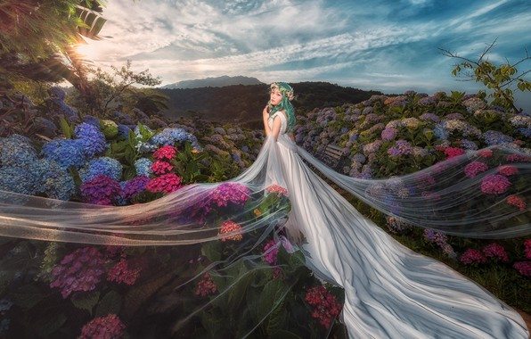 Picture summer, the sky, girl, clouds, flowers, nature, background, hills, white, blue, hair, the evening, garden, …