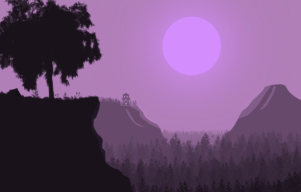 Picture forest, trees, mountains, dawn, tower, morning, hike, halt, wounds