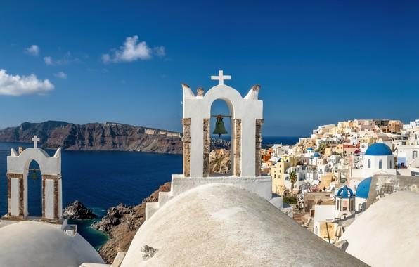Picture sea, mountains, building, home, Santorini, Greece, Church, Santorini, Oia, Greece, The Aegean sea, Aegean Sea