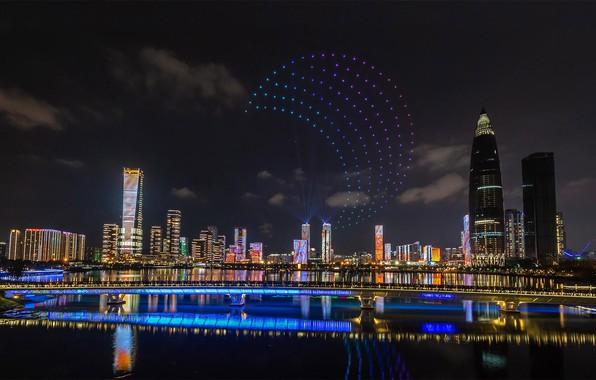 Picture night, lights, panorama, China, Shenzhen