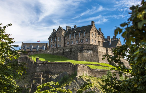 Picture greens, the sky, the sun, clouds, trees, castle, wall, Scotland, hill, Edinburgh Castle