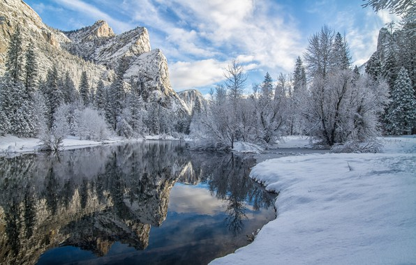 Picture winter, snow, trees, mountains, reflection, river, CA, California, Yosemite Valley, Yosemite National Park, Sierra Nevada, …