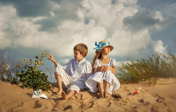 Picture sand, summer, the sky, clouds, nature, children, vegetation, boy, shell, girl, book, Dmitry Usanin