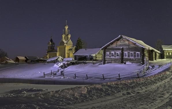 Picture winter, snow, landscape, night, nature, home, village, Church, Arkhangelsk oblast, Kimzha, Sergei Garmashov