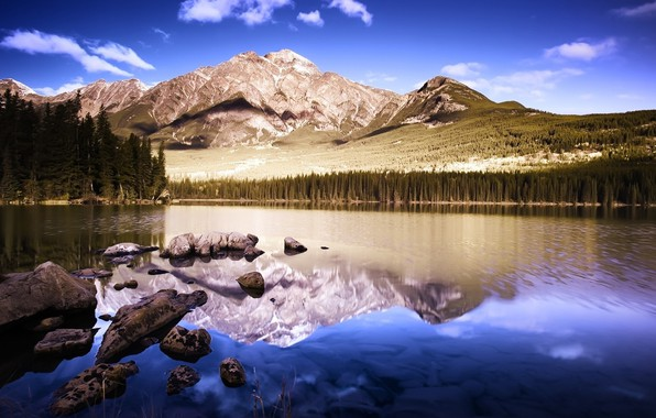 Picture Reflection, Mountains, Lake, Forest, Stones