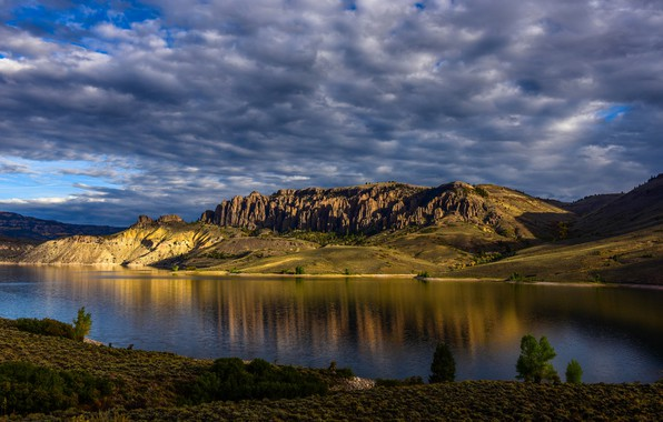 Picture the sky, clouds, light, mountains, blue, rocks, shore, the slopes, pond, relief