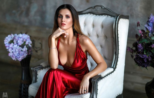 Picture look, flowers, pose, model, portrait, makeup, figure, dress, hairstyle, brown hair, beauty, sitting, in red, …