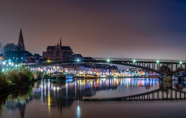 Picture bridge, lights, river, France, the evening, Auxerre