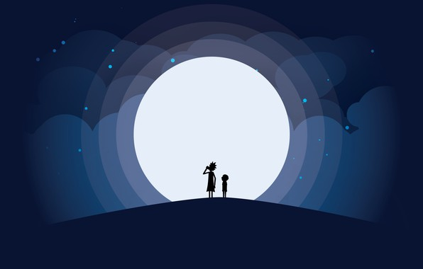 Picture Minimalism, The moon, Smith, Cartoon, Sanchez, Rick, Rick and Morty, Rick and Morty, Morty, Rick …