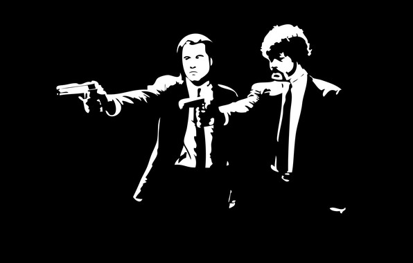 Picture the film, pulp fiction, black and white