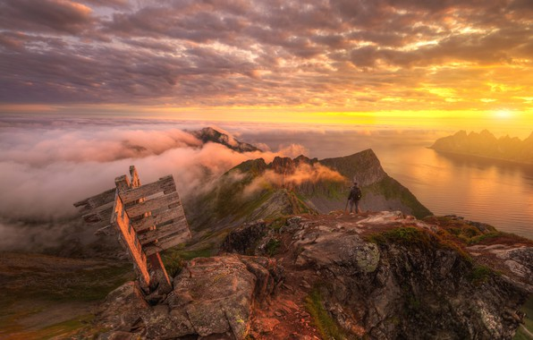 Picture the sky, clouds, sunset, river, Norway, Norway, Ed Gordeev, Husfjellet