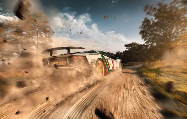 Picture road, speed, dust, Lamborghini, dirt, primer, Aventador, LP750-4 SV, Alitalia Tribute, THOMAS VAN ROOIJ