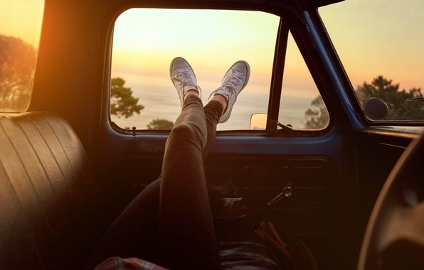 Picture Girl, Car, Sunset, Mood
