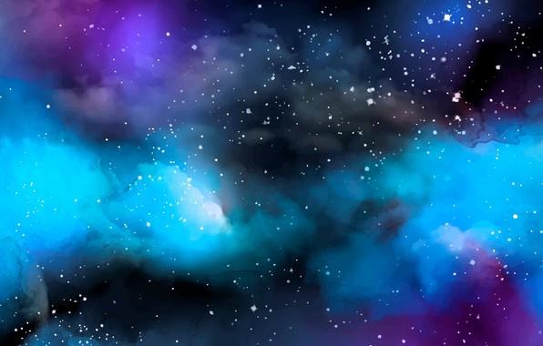 Picture stars, nebula, watercolor