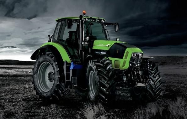Picture the sky, photo, earth, tractor, cabin, wheel, dark sky, agricultural machinery, Deutz-Fahr, Deutz-Fahr 7250 TTV, …