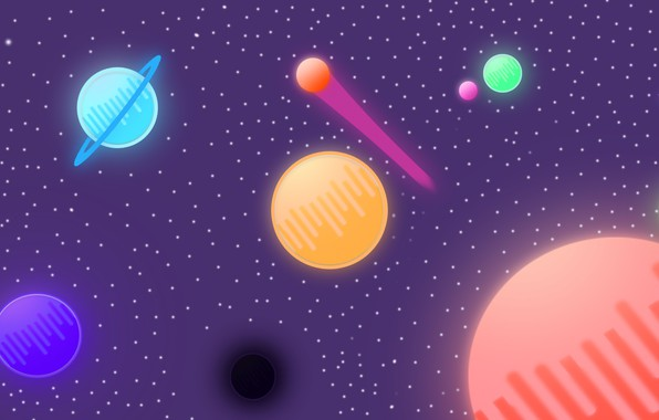 Picture space, stars, planet, UFO, minimalism, comet, space