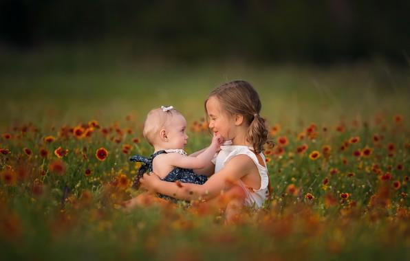 Picture flowers, nature, children, girls, grass, Lisa Holloway
