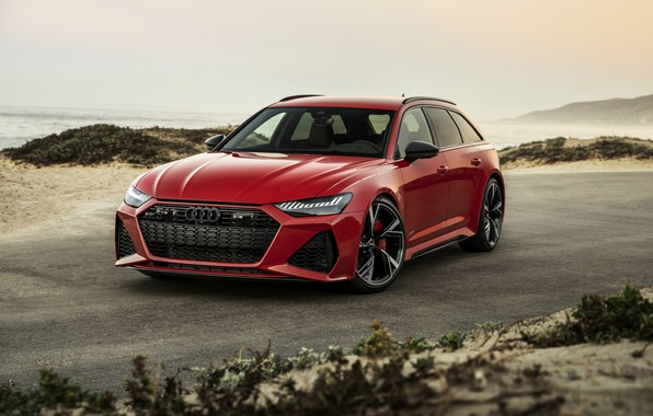 Picture sand, red, Audi, universal, RS 6, 2020, 2019, near the shore, V8 Twin-Turbo, RS6 Avant