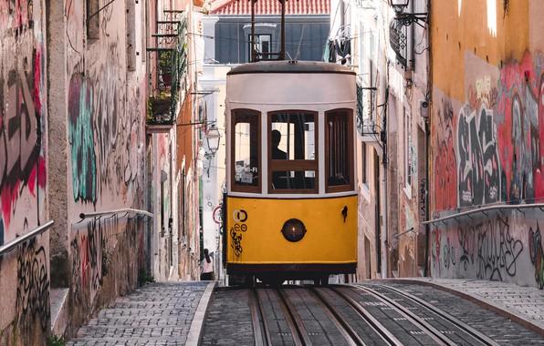 Picture the city, street, graffiti, building, home, tram, Portugal, Lisbon