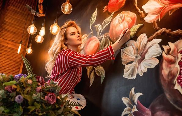 Picture legs, flowers, model, pretty, blonde, pose, A Diakov George