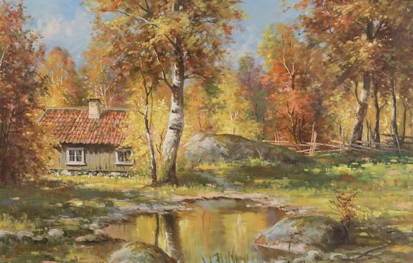 Picture Autumn landscape, Swedish artist, Swedish painter, Anshelm Dahl, Autumn landscape, Angel Dal