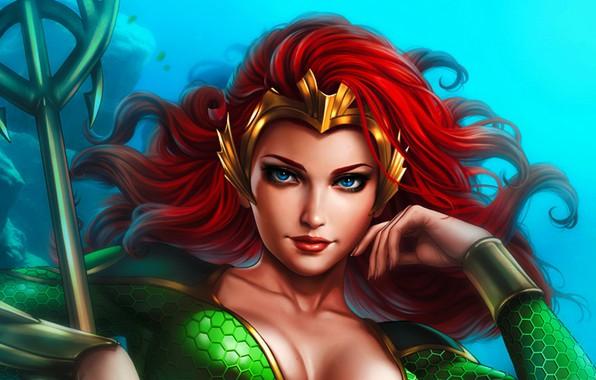 Picture girl, art, art, DC Comics, Mera, Measure, by Dandonfuga, Queen Mera