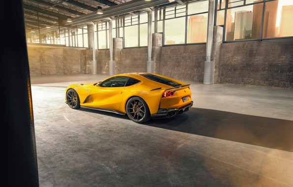 Picture machine, light, yellow, hangar, Ferrari, drives, side view, stylish, sports, Superfast, 812, by Novitec