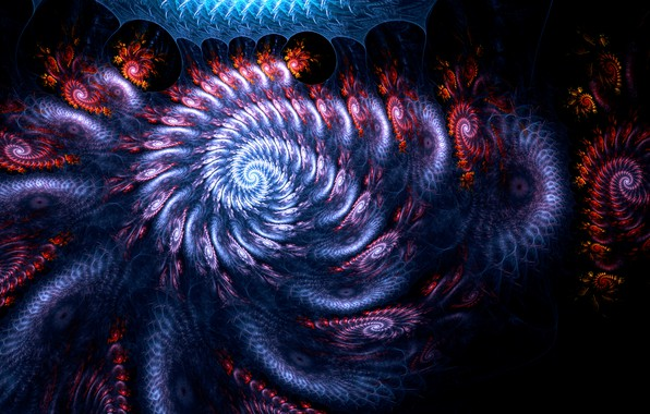 Picture space, the explosion, orange, blue, yellow, red, lilac, blue, black, dark, snail, explosions, stream, light, …