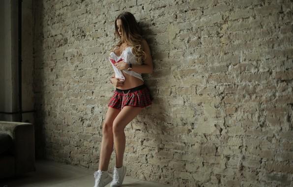 Picture wall, hair, skirt, Girl, Mike, figure, legs, StasyQ, Malegra