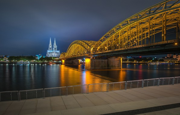 Picture bridge, lights, the evening, Germany, backlight, promenade, Cologne