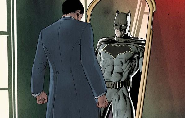 Picture fantasy, Batman, comics, reflection, artwork, mask, superhero, costume, DC Comics, mirror, Bruce Wayne, cape, alias