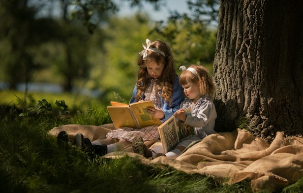 Picture autumn, girls, books