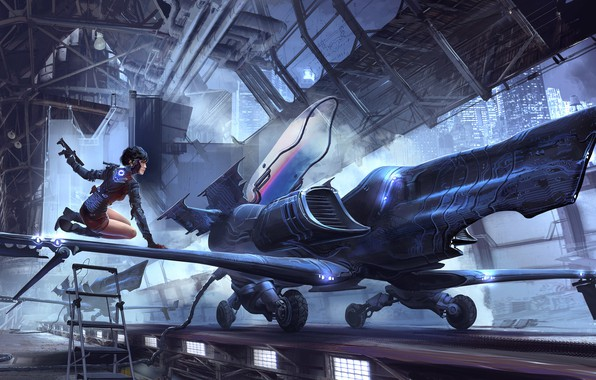 Picture Girl, Figure, The plane, Girl, Art, Fiction, Jet, Characters, Sci-Fi, Jet, Science Fiction, Cyberpunk, Environments, …