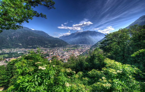 Picture greens, forest, the sky, clouds, trees, mountains, home, Switzerland, valley, Bellinzona