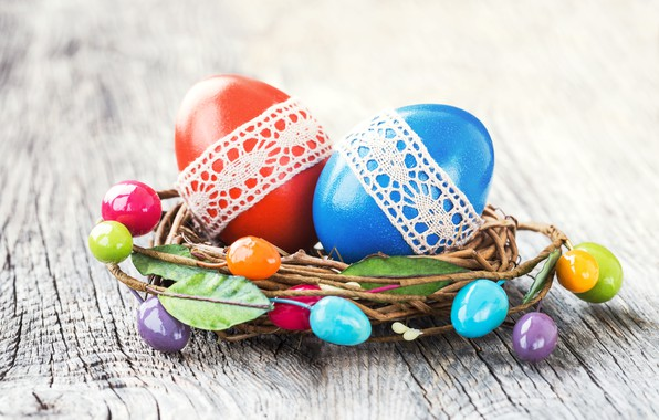 Picture eggs, colorful, Easter, happy, wood, Easter, eggs, decoration