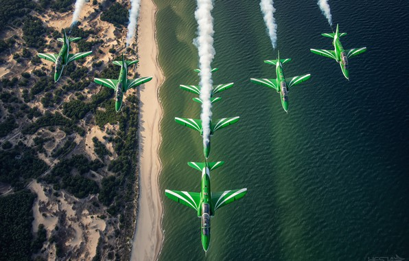 Picture Sea, Smoke, Shore, Aerobatic team, Hawker Siddeley Hawk, Link, HESJA Air-Art Photography, Saudi Hawks, Saudi …