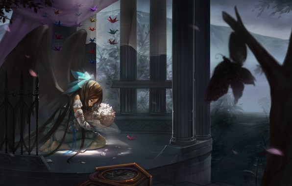 Picture loneliness, columns, grief, moths, Reiu Equipment, Utsuho, paper cranes, black wings, Touhou Project, Project East, …