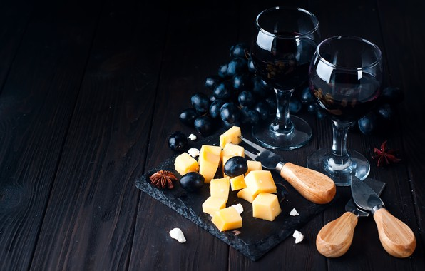 Picture wine, cheese, glasses, grapes