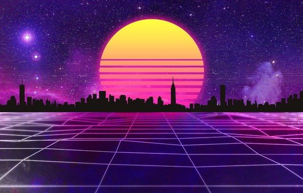 Picture The sun, Music, The city, Stars, Space, Background, 80s, Neon, 80's, Synth, Retrowave, Synthwave, New …