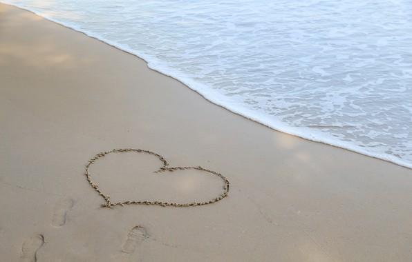 Picture sand, sea, wave, beach, summer, love, summer, love, beach, sea, heart, romantic, sand, I love …