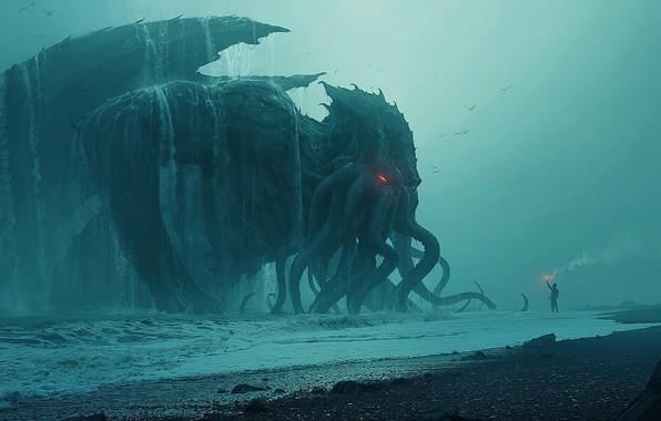 Picture Cthulhu, Cthulhu, sea, behemoth, tide, Andree Wallin