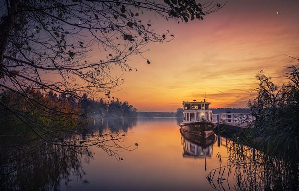 Picture autumn, trees, landscape, sunset, nature, lake, ship, the evening, pier