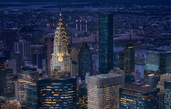 Picture city, lights, USA, bridge, night, New York, Manhattan, NYC, New York City, skyscraper, Chrysler Building, …