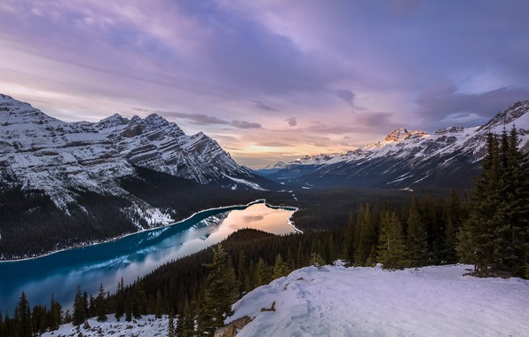 Picture winter, the sky, snow, mountains, Canada, Peyto Lake, Evgeny